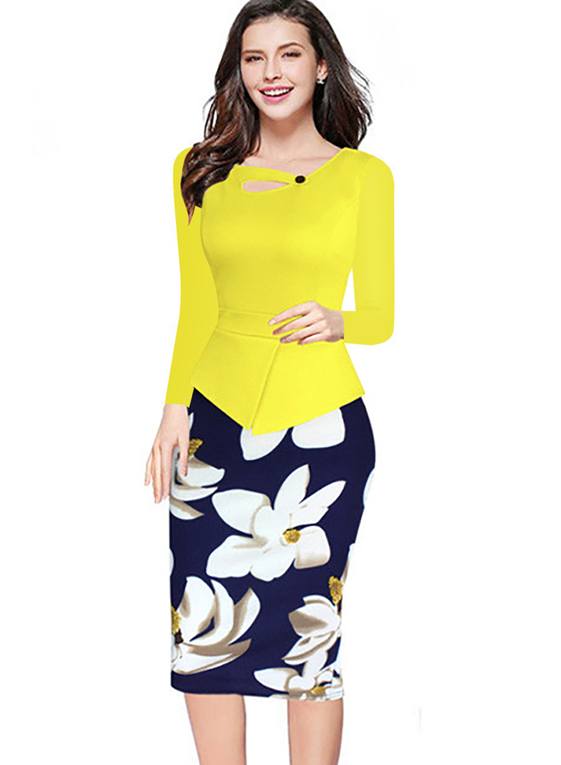Women Floral Print Patchwork Pencil Dress Half/Long Sleeve Plus Size Slim  Work OL Office Bodycon Party Dress 2#