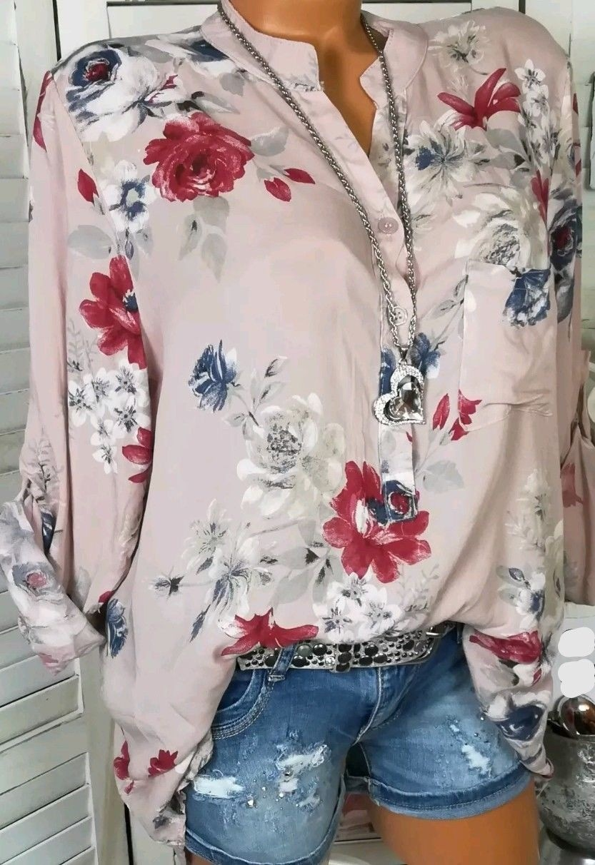 665563e26f Women Shirt Floral Printed Long Sleeve V Neck Plus Size Casual Loose Tops  Blouse pink