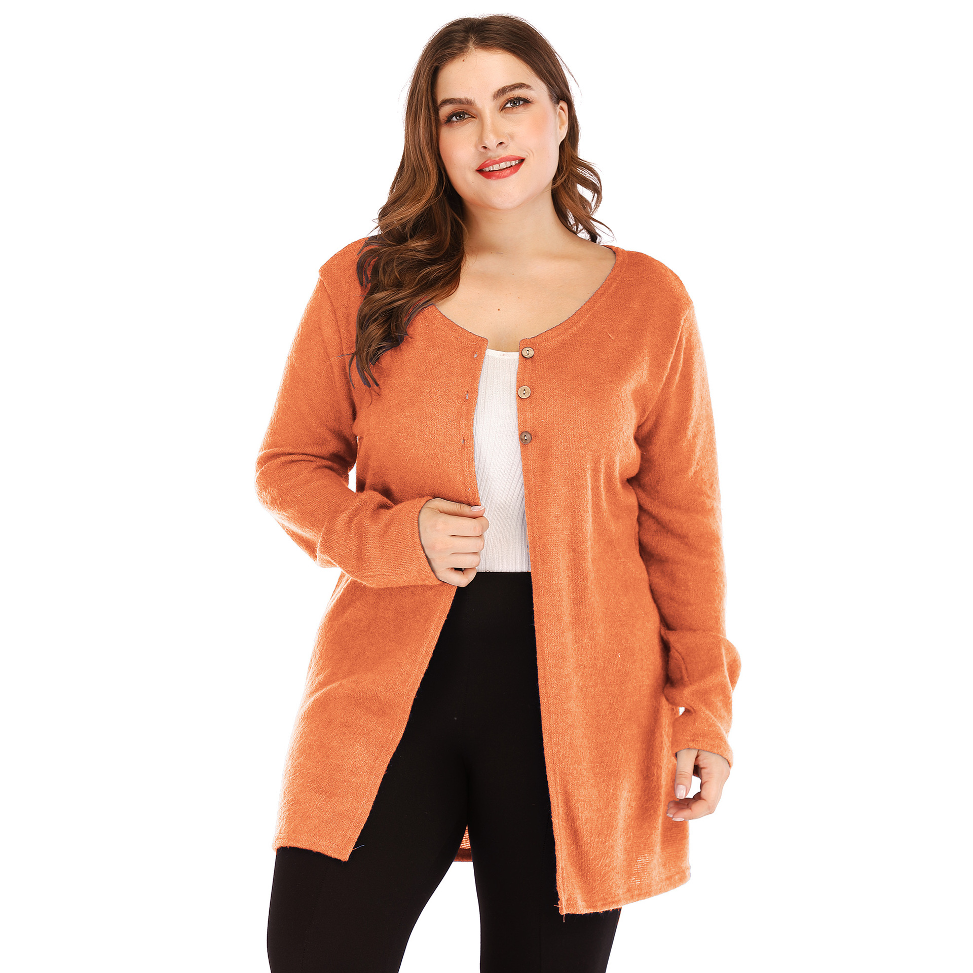 02a9ed6ec97 Women Cardigan Coat Autumn Long Sleeve Button Casual Basic Plus Size Jacket  Orange on Luulla
