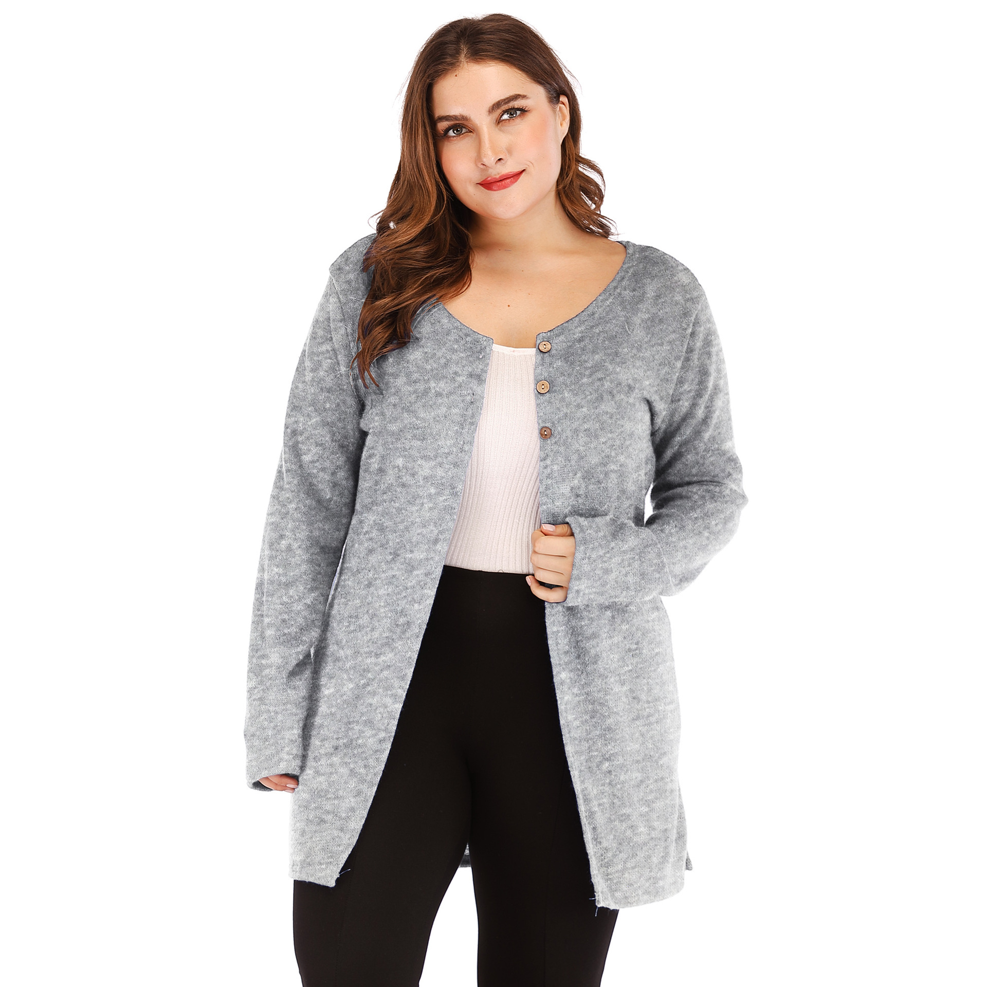 9c68b2430f5 Women Cardigan Coat Autumn Long Sleeve Button Casual Basic Plus Size Jacket  Gray on Luulla
